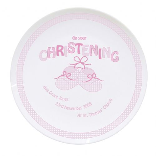 Bootee Pink Christening Plate